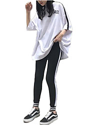 cheap -Women's Sexy Tracksuit - White, Black Sports Stripe Tee / T-shirt / Tights Yoga, Running, Fitness Activewear Breathable, Compression Stretchy