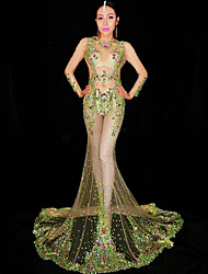baratos -Trajes de dança Roupas de Dança Exótica / Bodysuit de strass Mulheres Espetáculo Elastano Purpurina / Cristal / Strass Manga Longa Vestido