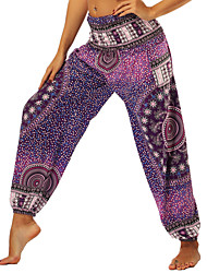 cheap -Women's Harem / Smocked Waist Yoga Pants - Amethyst Sports Floral Print, Bohemian, Hippie Bloomers / Bottoms Belly Dance, Fitness Activewear Lightweight, Moisture Wicking, Breathable Inelastic Loose
