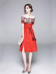 Недорогие -Жен. Классический Оболочка Платье Кружевная отделка До колена