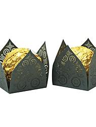 Недорогие -Необычные Розовая бумага Фавор держатель с Вышивка бисером в виде цветов Подарочные коробки - 50 шт