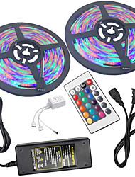 baratos -2x5 milhões Conjuntos de Luzes / Faixas de Luzes RGB 300 LEDs 3528 SMD 1 controlador remoto de 24Keys / Adaptador de energia 1 X 5A RGB Impermeável / Cortável / Conetável 100-240 V 2pcs