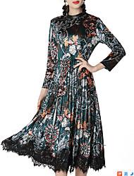 Недорогие -Жен. Классический Оболочка Платье - Цветочный принт, Плиссировка / С принтом Средней длины