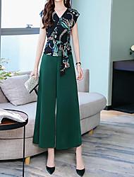 abordables -Mujer Chic de Calle / Sofisticado Conjunto - A Cuadros Pantalón