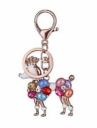 Недорогие -Собаки Брелок Розовое золото нерегулярный, Животный принт Резина, Искусственный бриллиант, Сплав Инкрустация камнями и кристаллами, Мода Назначение Подарок / Повседневные