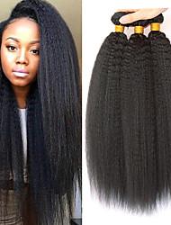 Недорогие -3 Связки Индийские волосы Вытянутые 8A Натуральные волосы Головные уборы Аксессуары для костюмов Удлинитель 8-28 дюймовый Нейтральный Черный Ткет человеческих волос Машинное плетение