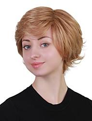 Недорогие -Человеческие волосы без парики Натуральные волосы Волнистый Стрижка под мальчика / Короткие Прически 2019 Прически Холли Берри Стиль Природные волосы Блондинка Без шапочки-основы Парик Жен.