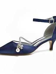 Per donna Scarpe comfort Raso Primavera estate scarpe da sposa Basso  Appuntite Perle di imitazione   Brillantini Borgogna   Champagne   Avorio    Matrimonio ... dd4c5b7da47