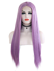 cheap -Synthetic Lace Front Wig Silky Straight Style Middle Part Lace Front Wig Purple Purple Synthetic Hair 24 inch Women's Adjustable / Heat Resistant / Party Purple Wig Long Natural Wigs