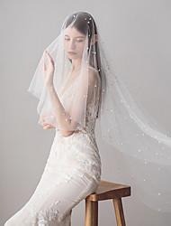 abordables -Une couche Style vintage / Style classique Voiles de Mariée Voiles bout du doigt avec Perle fausse / Couleur Unie Tulle