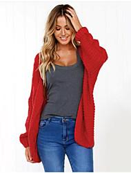 povoljno -Žene Dnevno Osnovni Jednobojni Dugih rukava Regularna Kardigan, V izrez Jesen Red / Blushing Pink / Sive boje M / L / XL