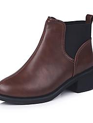 Недорогие -Жен. Fashion Boots Полиуретан Осень На каждый день Ботинки На толстом каблуке Сапоги до середины икры Черный / Коричневый