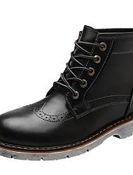billige -Herre Militærstøvler Læder Efterår vinter Vintage / Britisk Støvler Hold Varm Ankelstøvler Grå / Brun / Bourgogne