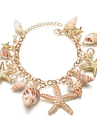 abordables -Breloque Charms Bracelet Femme Stylé Coquillage Étoile de mer Coquillage dames Bohème Bracelet Bijoux Or pour Cadeau