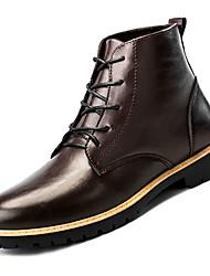 Недорогие -Муж. Армейские ботинки Полиуретан Осень На каждый день Ботинки Нескользкий Сапоги до середины икры Черный / Коричневый