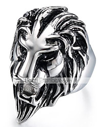 cheap -Men's Vintage Style 3D Band Ring Statement Ring - Titanium Steel Lion Vintage, Punk 9 / 10 Black For Halloween Daily Street