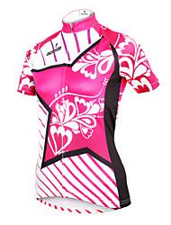 Недорогие -ILPALADINO Жен. С короткими рукавами Велокофты - Розовый Цветочные / ботанический Большие размеры Велоспорт Джерси Верхняя часть, Дышащий Быстровысыхающий Ультрафиолетовая устойчивость Полиэстер 100
