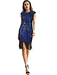 cheap -The Great Gatsby Vintage / 1920s Costume Women's Flapper Dress Black / Blue / Golden+Black Vintage Cosplay Polyester Sleeveless Knee Length Halloween Costumes / Sequins