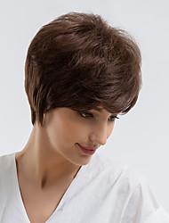 cheap -Human Hair Capless Wigs Human Hair Straight Pixie Cut Natural Hairline Dark Brown Capless Wig Women's Daily Wear