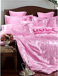 baratos -conjuntos de capa de edredão de luxo polyster jacquard 4 peças de cama conjuntos / 400/4 pcs (1 capa de edredão, 1 folha plana, 2 shams) rainha