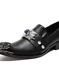 Недорогие -Муж. Официальная обувь Наппа Leather Осень Английский Туфли на шнуровке Доказательство износа Черный / Для вечеринки / ужина