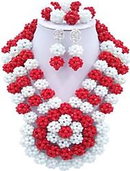 Недорогие -Жен. Многослойность Комплект ювелирных изделий - Мода Включают Струнные ожерелья Красный / Зеленый / Ярко-розовый Назначение Для вечеринок Повседневные