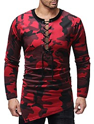 baratos -Homens Camiseta Básico Estampado, Estampa Colorida / camuflagem