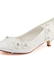 baratos -Bombas de cetim adoração das mulheres ador® queda de cetim gatinho heel toe strass marfim / festa& tarde