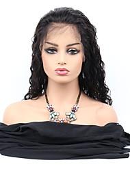 Недорогие -Необработанные натуральные волосы Лента спереди Парик Средняя часть стиль Бразильские волосы Естественные волны Парик 130% Плотность волос с детскими волосами Регулируется 100 / Glueless