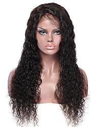 Недорогие -Необработанные натуральные волосы Лента спереди Парик Бразильские волосы Волнистые Парик Средняя часть 130% Плотность волос с детскими волосами Легко туалетный Лучшее качество 100% девственница
