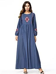 baratos -Mulheres Vintage / Básico Reto / Abaya Vestido - Cordões / Bordado, Floral Longo