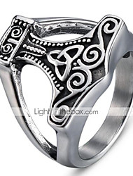 cheap -Men's Vintage Style 3D Band Ring - Titanium Steel Vintage, Punk 9 / 10 Black For Halloween Daily Street