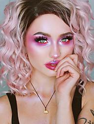 Недорогие -Синтетические кружевные передние парики Свободные волны Розовый Искусственные волосы Розовый Парик Жен. Короткие Лента спереди Розовый