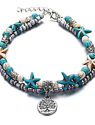 abordables -Turquoise Effets superposés Bracelet de cheville - Résine Arbre de la vie, Étoile de mer Rétro, Ethnique, Bohème Bleu Pour Quotidien Plein Air Sortie Femme