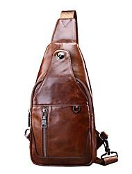 Недорогие -мужские сумки наппа кожаный ремень сумка на молнии черный / коричневый / кофе