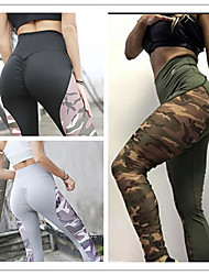 cheap -Women's Patchwork Yoga Pants - Black, Gray, Army Green Sports Print Spandex Tights / Leggings Dance, Running, Fitness Activewear Anatomic Design, Butt Lift, Tummy Control Stretchy Skinny