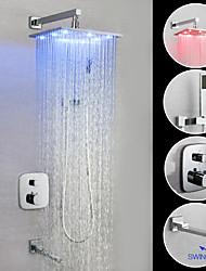 Недорогие -Ванная раковина кран - Современный Хром На стену Медный клапан Bath Shower Mixer Taps / Латунь / Одной ручкой четыре отверстия