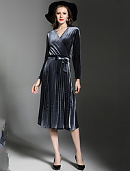 cheap -Women's Basic / Elegant Sheath Dress Lace up