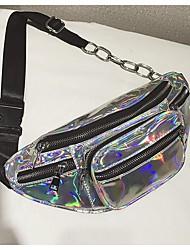 Недорогие -Жен. Мешки PU Слинг сумки на ремне Молнии Черный / Пурпурный / Серебряный