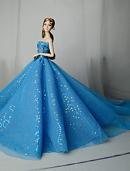cheap -Dresses Dress For Barbie Doll Blue Tulle / Lace / Paillette Dress For Girl's Doll Toy