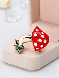 baratos -Mulheres Clássico Broches - Cogumelo Desenho, Europeu, Fashion Broche Vermelho Para Presente / Diário