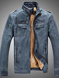 abordables -Veste de cuir Homme - Couleur Pleine Basique