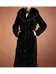 billiga -Dam Dagligen Maxi Fur Coat, Enfärgad V-hals Långärmad Fuskpäls Svart XXL / XXXL / 4XL