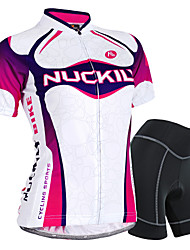 cheap -Nuckily Women's Short Sleeve Cycling Jersey with Shorts - Purple Bike Shorts / Jersey / Clothing Suit, Waterproof, 3D Pad, Breathable, Reflective Strips, Sweat-wicking Polyester, Spandex Gradient