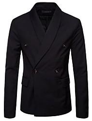 cheap -Men's Plus Size Slim Blazer-Solid Colored Check Shawl Lapel / Long Sleeve