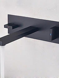 preiswerte -Waschbecken Wasserhahn - Verbreitete / Neues Design Schwarz Wandmontage Zwei Griffe Ein Loch