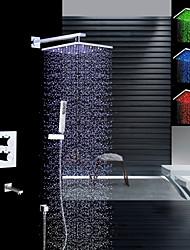 abordables -Moderne Montage mural Douche pluie Douchette inclue Thermostatique LED Soupape en laiton Deux poignées quatre trous Chrome, Robinet de