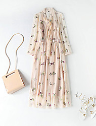 cheap -Women's Puff Sleeve Swing Dress - Floral Bow / Ruffle / Embroidered Maxi Crew Neck