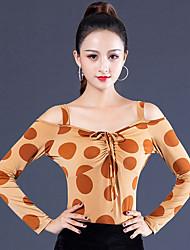 ราคาถูก -ชุดเต้นรำโมเดิร์น เสื้อ สำหรับผู้หญิง Performance น้ำแข็งไหม กระโปรงระบาย แขนยาว Top
