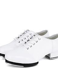 baratos -Homens Sapatilhas de Sapateado Couro Sintético Têni Salto Grosso Personalizável Sapatos de Dança Branco / Preto